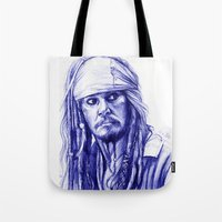 jack sparrow Tote Bags featuring Jack Sparrow by Luna Perri