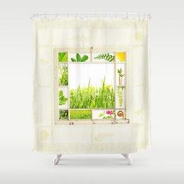 Spring window sampler Shower Curtain