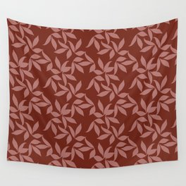 Organic Leaf Pattern Red Wall Tapestry