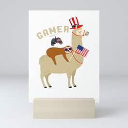 4th of July Gamer Gift Sloth Riding Llama Celebrating Amercia Independence Day Gift Mini Art Print