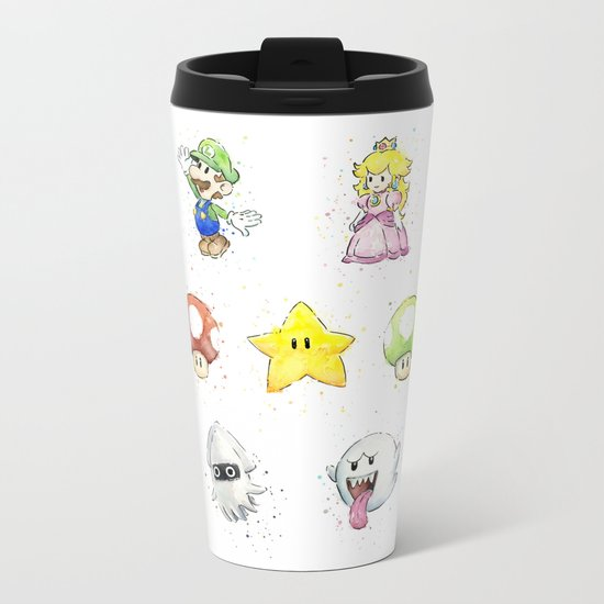 Mario Characters Watercolor Geek Gaming Videogame Metal Travel Mug