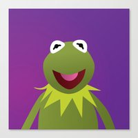 muppets Canvas Prints featuring Kermit - Muppets Collection by Bryan Vogel