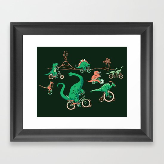 Dinosaurs on Bikes! Framed Art Print