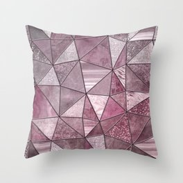 Pink Red Glamour Marble Shiny Stained Glass Design Throw Pillow