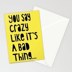 Crazy - Black on Yellow Stationery Cards
