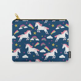Unicorns happy clouds rainbows magical pony pattern navy pastels Carry-All Pouch