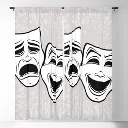 Comedy And Tragedy Theater Masks Black Line Blackout Curtain