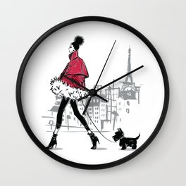 Just Walking Her Dog - Chic Parisian Girl in Red Jacket Wall Clock