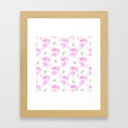 Hand painted pink lavender green watercolor floral Framed Art Print