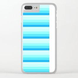 Turquoise Aqua Stripes Clear iPhone Case