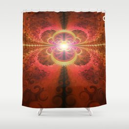 A Beautiful Fractal Burst of Liquid Sunset Colors Shower Curtain