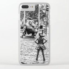 Fearless Girl & Charging Bull in the rain Clear iPhone Case