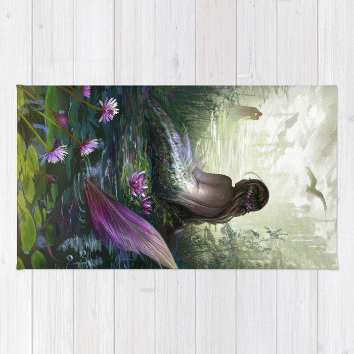 Little mermaid - Lonley siren watching kissing couple Rug