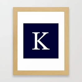 Navy Blue Basic Monogram K Framed Art Print