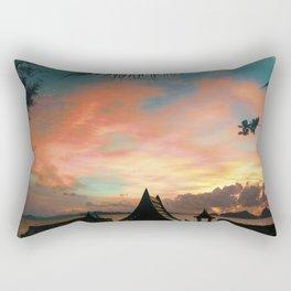 Red Ocean Sunset Rectangular Pillow