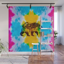A awesome bear illustration on a tie dye background Wall Mural