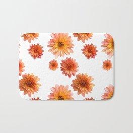 Coral Mum Floral Pattern - Scattered Flowers - Chrysanthemum Bloom Pattern - Real Flowers Bath Mat
