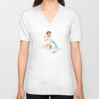 nurse V-neck T-shirts featuring nurse by Melissa Ballesteros Parada