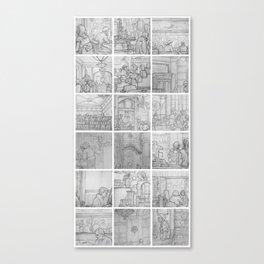 Cafe sketches by David A Sutton. 18 piece vertical. sketchbookexplorer.com Canvas Print