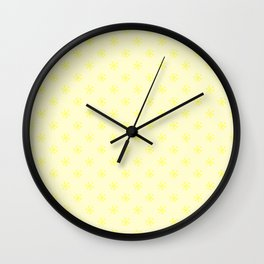 Electric Yellow on Cream Yellow Snowflakes Wall Clock