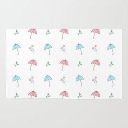 Modern hand drawn pastel pink teal floral umbrella pattern Rug