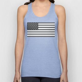 American flag in Gray scale Unisex Tank Top