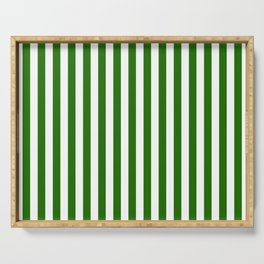 Green and white vertical stripes Serving Tray