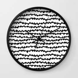 Black and white horizontal lines. Abstract print. Wall Clock