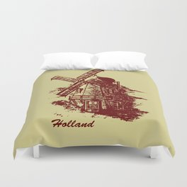 Old Holland windmill Duvet Cover