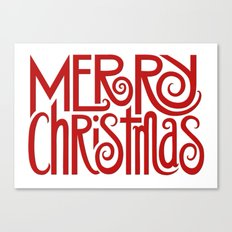 Merry Christmas Text red Canvas Print