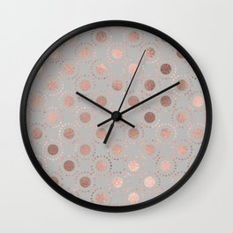 Rosegold simple pink metal foil polkadots on grey background 1 Wall Clock