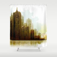cityscape Shower Curtains featuring Cityscape by Robin Curtiss