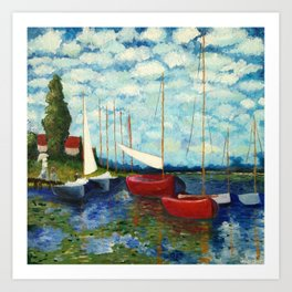 """Artistic Impression of Claude Monet's """"Red Boats at Argenteuil"""" Art Print"""