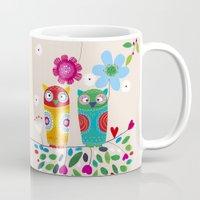 owls Mugs featuring owls by Marianna Jagoda