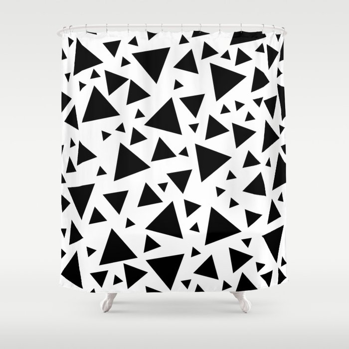 Memphis Milano Style Pattern With Triangles Black And White Triangle Print Shower Curtain