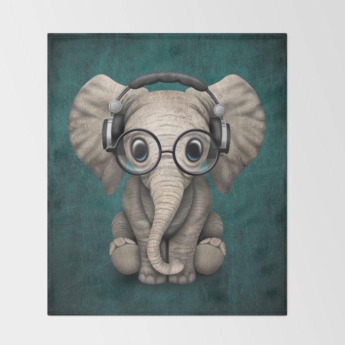 Cute Baby Elephant Dj Wearing Headphones And Gles On Blue Throw Blanket