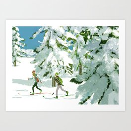 Cross Country Skiing Art Print