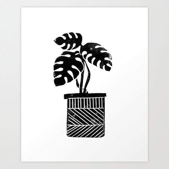 Linocut cheese plant monstera tropical leaf lino print black and white illustration art home dorm  Art Print