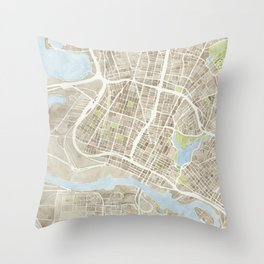 Oakland California Watercolor Map Throw Pillow