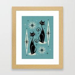 Mid Century Meow Retro Atomic Cats on Blue Framed Art Print