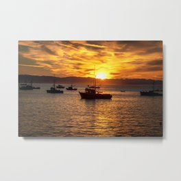 The Best Part of Waking Up boats in Port San Luis at Sunrise Metal Print