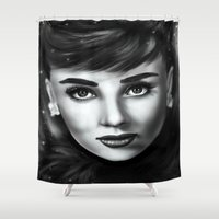 audrey Shower Curtains featuring Audrey  by Lily Fitch