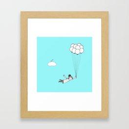 Hand Drawn Girl Flying With Balloons Framed Art Print