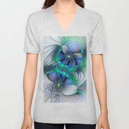 Fantasy Place, Abstract Fractal Art Unisex V-Neck