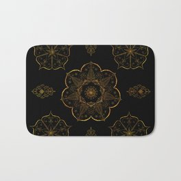 Neutral old gold mandala art floral pattern design Bath Mat