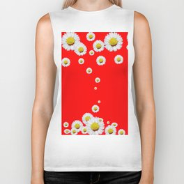 CHINESE RED WHITE DAISIES MODERN ART Biker Tank