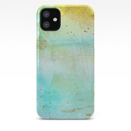 Aqua and Yellow Watercolor Wash With Faux Gold Glitter iPhone Case
