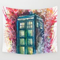 doctor Wall Tapestries featuring Doctor Who Tardis by Jessi Adrignola
