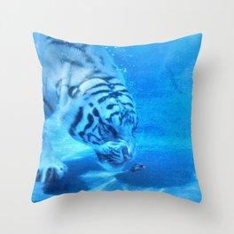 Diving Tiger Throw Pillow