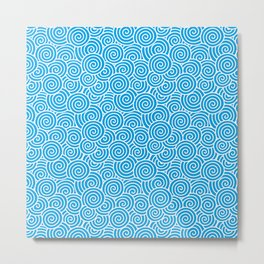 Chinese Spirals Pattern | Abstract Waves | Swirl Patterns | Circles and Swirls | Turquoise and White Metal Print